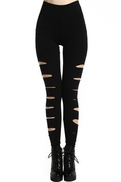 Side Broken Hole Leggings. Description Leggings, crafted from elastic fabric, featuring side broken hole design, a stretchy waist, and all in a soft-touch stretch fit. Fabric Cotton,Spandex. Washing Cool Hand Wash. #Romwe