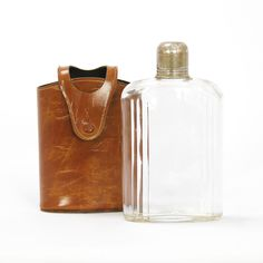 vintage flask with leather holder