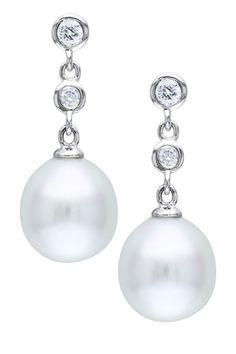 14K White Gold 9-9.5mm White South Sea Pearl & Diamond Drop Earrings
