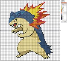 Click the image to enlarge, right click and select Save As to download the pattern. To see what it'll look like stitched, check out what other people have made below. Typlosion by ~Me-is-kohaku on deviantART
