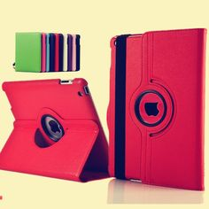 New case cover For Apple iPad 2 iPad 3 iPad 4 Pu Leather Flip Case Smart Stand 360 Rotating Tablet Case Cover Bag + pen + Film