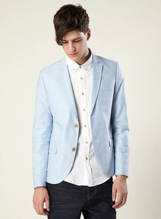 Blue Oxford Skinny Blazer