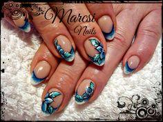 Blue french nail art, flower nail