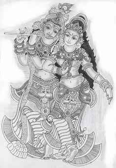 healthy living images clipart black and white: Worli Painting, Kerala Mural Painting, Black Art Painting, Indian Art Paintings, Fabric Painting, Kalamkari Painting, Krishna Painting, Madhubani Painting, Krishna Art