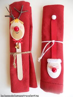 Made from wooden spoons, La classe della maestra Valentina Christmas Makes, Christmas Mood, Noel Christmas, Christmas Projects, Handmade Christmas, Christmas Ornaments, Christmas Decorations To Make, Holiday Crafts, Wooden Spoon Crafts