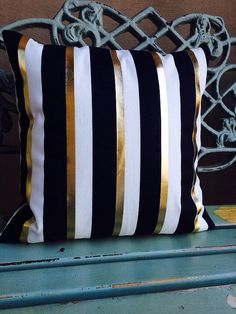 Gold Foil, black and ivory stripe pillow cover on medium weight cotton blend duck home decor fabric-slipcover only
