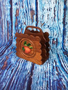 Wooden Folk Art Napkin Holder with Painted Strawberry Signed and dated Oct. 1977, Wood napkin holder, letter holder, desk organizer by TheDustyWingVintage on Etsy