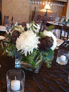 Flowers, White, Green, Centerpiece, Brown, The blue orchid, Artichokes, China mums