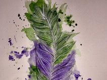 JanuarTanne - Feder -Aquarell fine art