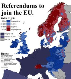 Detailed map of referendums to join the EU.