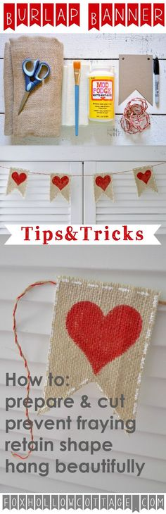 What a cute Valentine's Day Garland! This burlap banner craft is such an easy DIY. The site has a tutorial with a supply list and includes tips and tricks for a beautiful result -foxhollowcottage.com