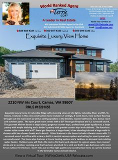Real Estate for Sale at $895,000! Four Bedroom, three and one half Bath, 4375 square foot custom two story Columbia Summit contemporary river and mountain view home on .34 acre lot located at 2210 NW Iris Court, Camas, Washington 98607 in Clark County area 32 which is in the Camas city limits. The RMLS number is 15201855. It has two gas fireplaces and a view of a river, mountain and city lights. It was built in 2015 and the local high school is Camas High. The annual taxes due are $1,829.35…