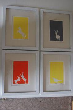 hand gided lino prints..hand printed by Zoe bailey