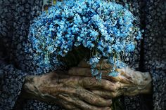 Happiness is... blue flowers the doors, blue flowers, flower bouquets, hands, mary oliver, dots, blue bouquets, color photography, blues