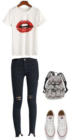 How to wear casual school outfit for teens?  White Lipstick Print T-shirt + Black denim ripped jean+ white converse+ print backpack. Check them at shein.com.