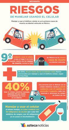 Riesgos de manejar usando el celular #infografia