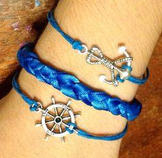 Blue hemp and ribbon nautical bracelet set FREE SHIPPING on Etsy, $8.00