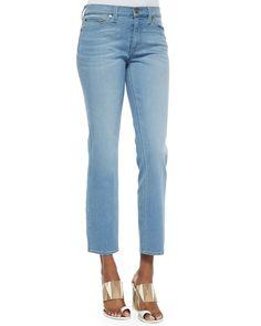 Cropped Straight-Leg Jeans, Women's, Size: 24, Blue Slate - Tory Burch