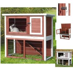 The Trixie Natura Rabbit Hutch with a sloped roof and 2-story hutch has a retreat area on the upper level and a grassy outdoor play area below. Non-slip ramp al