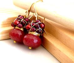 FREE shipping - The Norina - sweet earrings with red jade, garnet and sea pearls. $28.95, via Etsy.