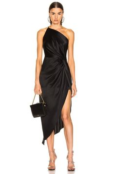 Black dresses classy - Black Satin One Shoulder Asymmetrical Cocktail Dress – Black dresses classy Dresses Near Me, Gala Dresses, Satin Dresses, The Dress, Elegant Dresses, Pretty Dresses, Sexy Dresses, Dresses For Work, Formal Dresses