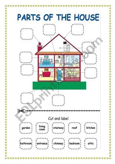 This is a simple worksheet where students cut and paste the labels of the parts of the house. of the house English Activities For Kids, First Day Of School Activities, English Worksheets For Kids, English Lessons For Kids, 1st Grade Worksheets, English Fun, Vocabulary Worksheets, Preschool Worksheets, English Vocabulary