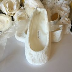 Ivory or White Lace Ballet Slippers Flower Girl by TillyWhistle