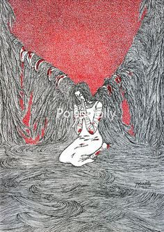 MEND by Poisonlolly. Dark gothic horror art created with pen on paper. © Poisonlolly