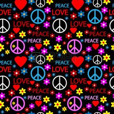 Seamless pattern with symbols of the hippie. Vector illustration. photo