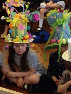 """""""What imaginations our children and parents have! Crazy Hat Day, Crazy Hats, Hat Crafts, Paper Crafts, Easter Hat Parade, Diy Ostern, Easter Celebration, Easter Crafts For Kids, Art For Kids"""