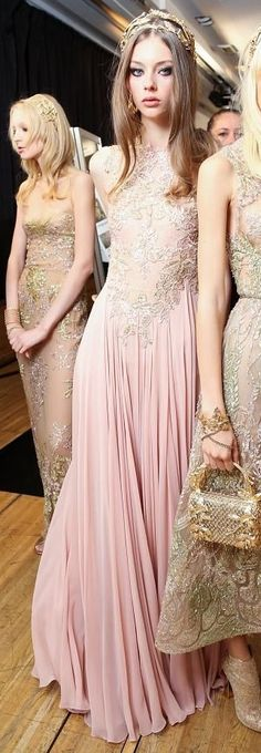 Elie Saab fall 2015 couture backstage.....is there anything Elie Saab can't do? His designs just get more beautiful.