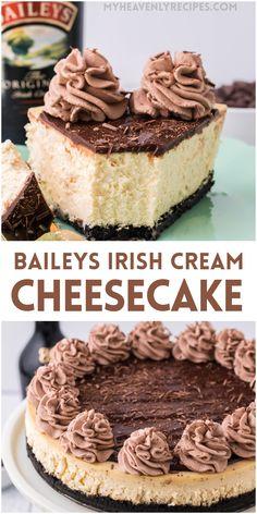 Baileys Cake, Baileys Cheesecake, Cookies And Cream Cheesecake, Cheesecake Toppings, Easy Cheesecake Recipes, Alcoholic Desserts, Fun Desserts, Chocolate Cream, Chocolate Ganache