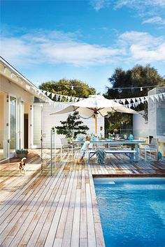 Browse swimming pool design ideas for the perfect pool for your home. Discover pool deck ideas and landscaping options to create your dream swimming pool Outdoor Areas, Outdoor Rooms, Outdoor Living, Indoor Outdoor, Swimming Pool Designs, Swimming Pools, Australian Beach, Pool Decks, Pool Fence