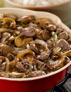 When it comes to nutrient-dense foods, chicken hearts, packed with protein and B vitamins, are at the top of the list. In this dish, their mild chicken flavor pairs perfectly with boldly spiced onions and mushrooms.
