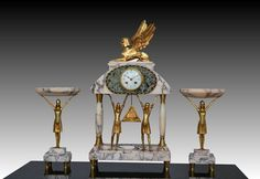 Art deco egyptian revival clock egyptomania sculpture figural