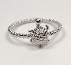 STERLING SILVER NAUTICAL ROPE WITH OCEAN SEA TURTLE SEA LIFE PROMISE RING SIZE 8