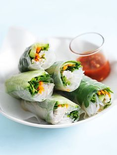 coconut chicken rice paper rolls from donna hay
