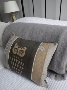 hand printed rustic soft charcoal owl cushion by helkatdesign, $58.00