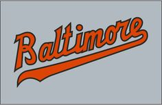Baltimore Orioles Jersey Logo (1966) - Baltimore in orange with black outline on grey, worn on front of Baltimore Orioles road jersey from 1956 through 1972 with slight variations in the shade of orange used throughout that span, the most noteable in 1966.
