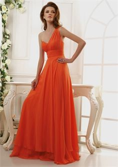 One Shoulder Empire Ruched Bodice Layered Chiffon Prom Dress PD11082. This would be perfect if it was red, knee length, and had sleeves