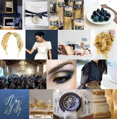 Navy blue is an unexpected choice for a fall wedding, but together with gold, it works perfectly for the season (it would also be lovely in winter). Materials like velvet, gold leaf, and silk jacquard add even more richness to the already luxe palette. Without being too literal, there's sort of an Art Nouveau vibe here, too, don't you think?    Mood: richly romantic, moody  Palette: navy blue velvet, gold leaf, warm white