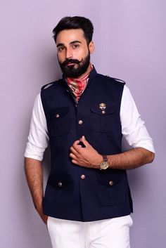 Nehru Jacket For Men, Men's Waistcoat, Nehru Jackets, Men's Jackets, Wedding Kurta For Men, Wedding Dresses Men Indian, Mens Clothing Styles, Men's Clothing, Modi Jacket