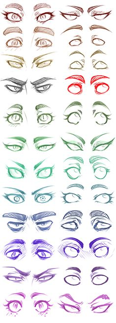 Eyes by panicismyrain ✤ || CHARACTER DESIGN REFERENCES | キャラクターデザイン • Find more at…