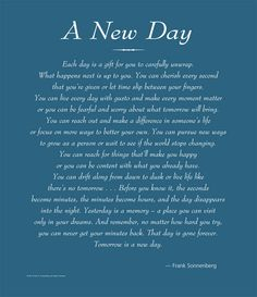 A New Day | Values to Live By |  www.FrankSonnenbergOnline.com