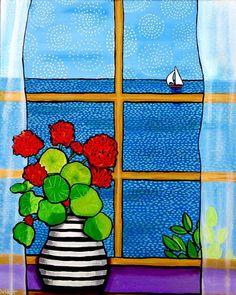 Geranium Window Ocean sailboat Print Duffett                                                                                                                                                                                 Más