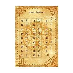 Runic Alphabet Parchment Poster Wicca Pagan Print Art Witch Magick... ❤ liked on Polyvore featuring home, home decor, wall art, alphabet poster and alphabet wall art