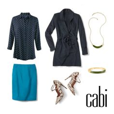 Wear this to work today! Pair spring's Martini Top with fall's Sigourney Skirt and Harbor Jacket for a bright new office Jeanettemurphey.cabionline.com  My website is open 24/7 for shopping pleasure. look.