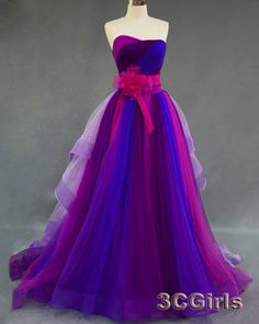 Pretty colorful strapless long prom dress, layered tulle homecoming dress, sweetheart dress for teens, 2016 occasion dress by #3cgirls #weddings -> http://www.3cgirls.com/#!product/prd1/4225630061/pretty-colorful-strapless-long-layer-evening-dress