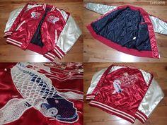 SUKAJAN Bomber Souvenir Padding is jacket ( japanese L ) Carp Full moon Cherry # #FlightBomber