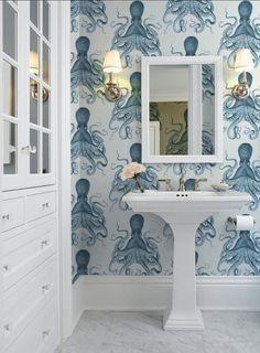 Octopus Indigo Peel 'n Stick Wallpaper or Traditional Coastal Wallpaper, Bathroom Wallpaper, Nautical Wallpaper, Peel N Stick Wallpaper, Boat Wallpaper, Wallpaper Stairs, Wallpaper Wallpapers, Custom Wallpaper, Home Interior